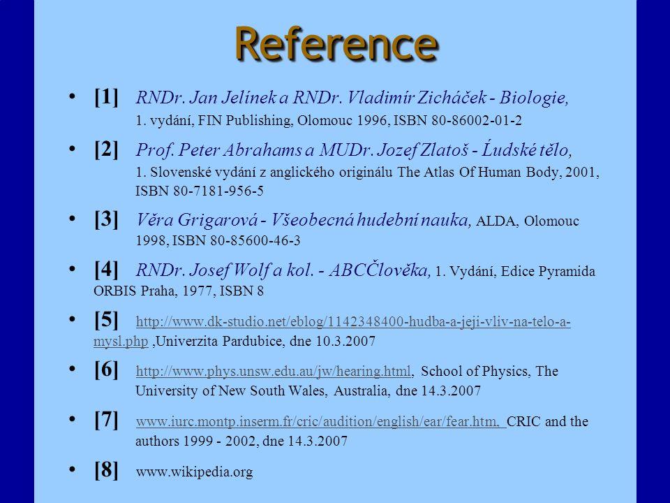 Reference [1] RNDr. Jan Jelínek a RNDr. Vladimír Zicháček - Biologie, 1. vydání, FIN Publishing, Olomouc 1996, ISBN 80-86002-01-2.